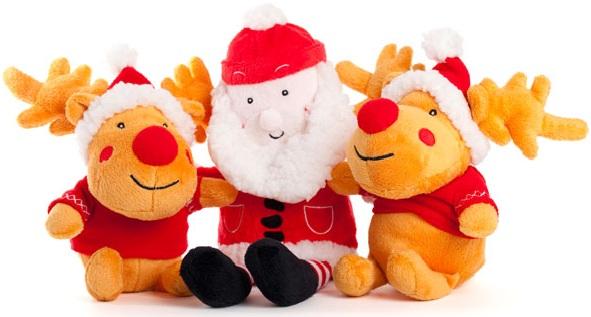Stuffed santa and reineers