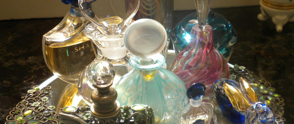 vintage perfume bottles from an estate sale