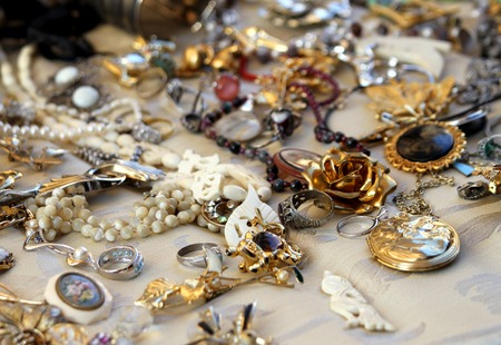 vintage jewelry at an estate sale