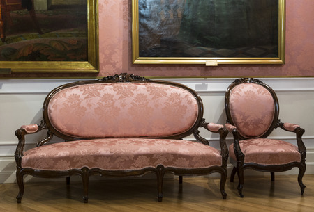 home interior with antique pink furniture